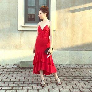Alice and Olivia Amina Red Dress